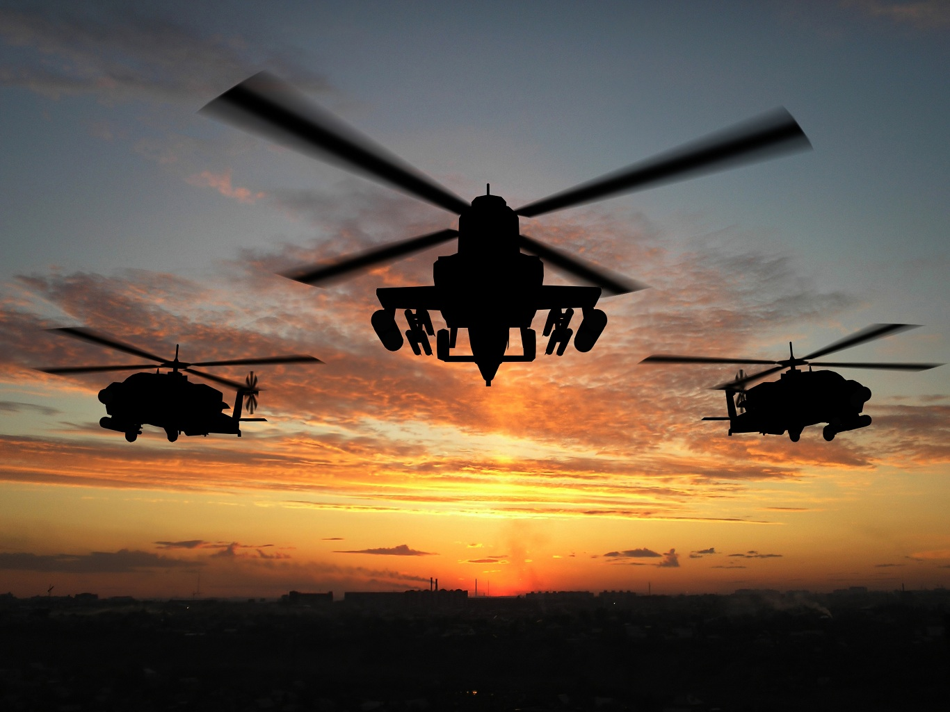 Shutterstock Helicopters at Sunset