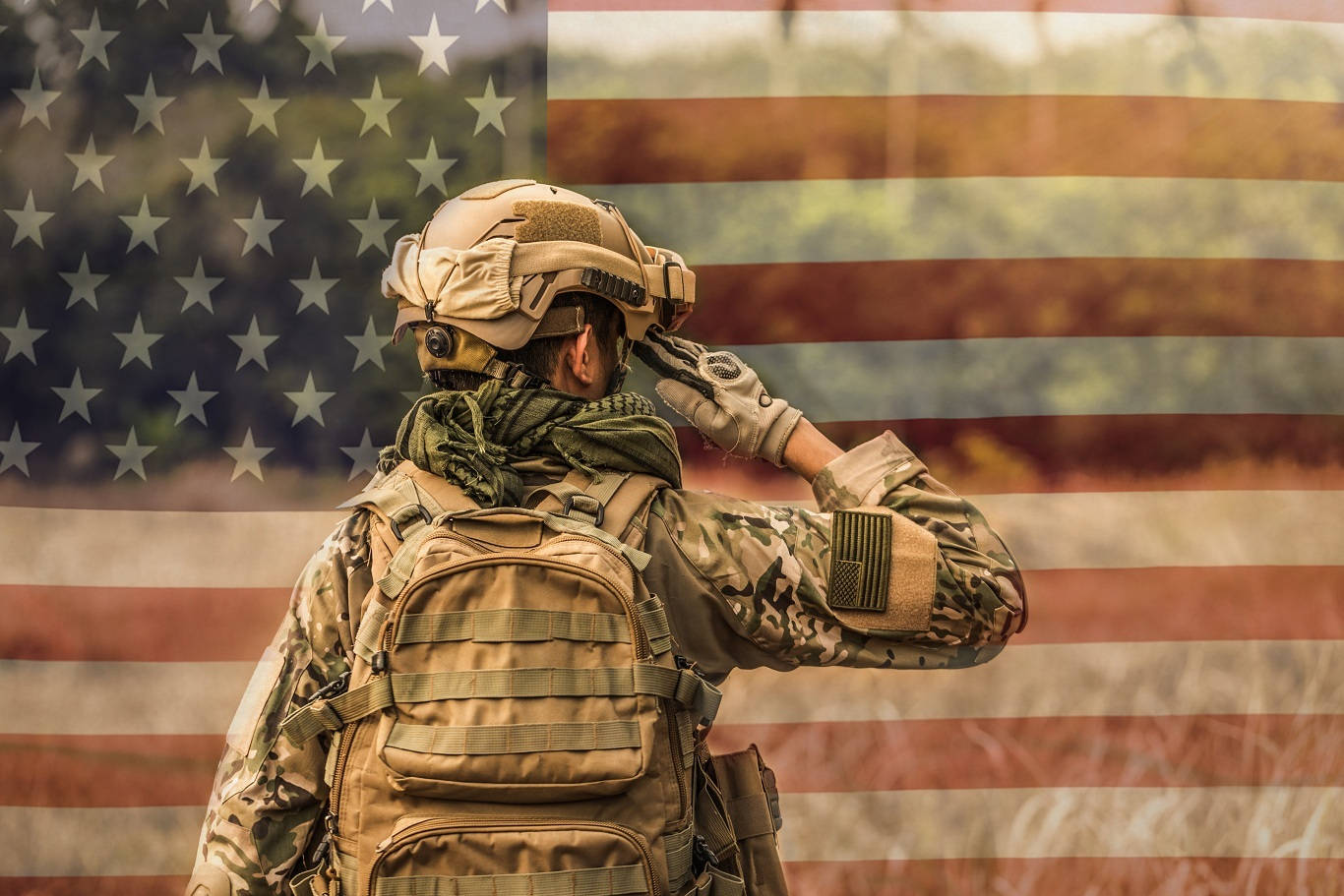 Shutterstock Soldier Saluting Flag